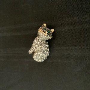 Vintage Rhinestone Cat Brooch